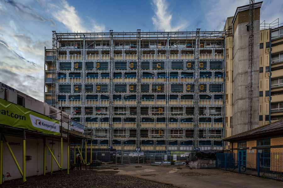 Facade replacement in Portsmouth by construction photographer Ri