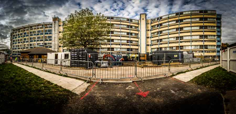 Panoramic picture of major refurbishment by construciton photogr