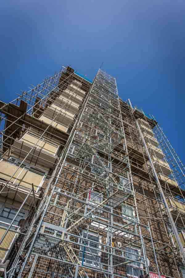 Scaffolding to a high rise block