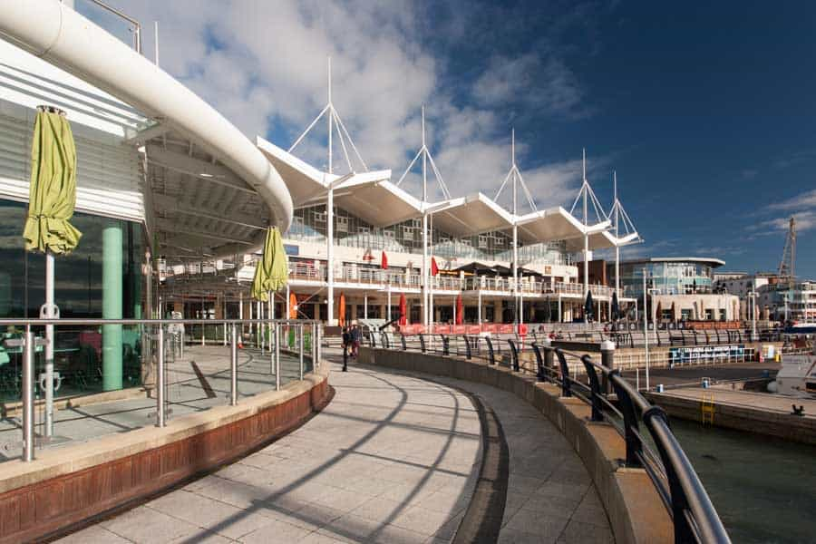 The shops at Gunwharf Quays in Portsmouth