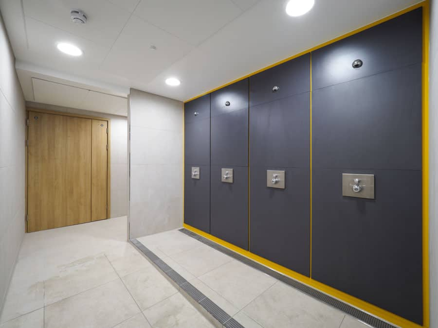 Refurbished changing room area in Building B18 at the University