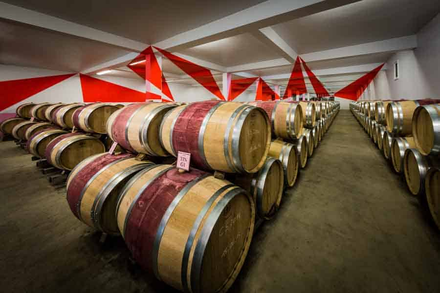 Barrels at Chateaux Chasse Spleen in Bordeaux