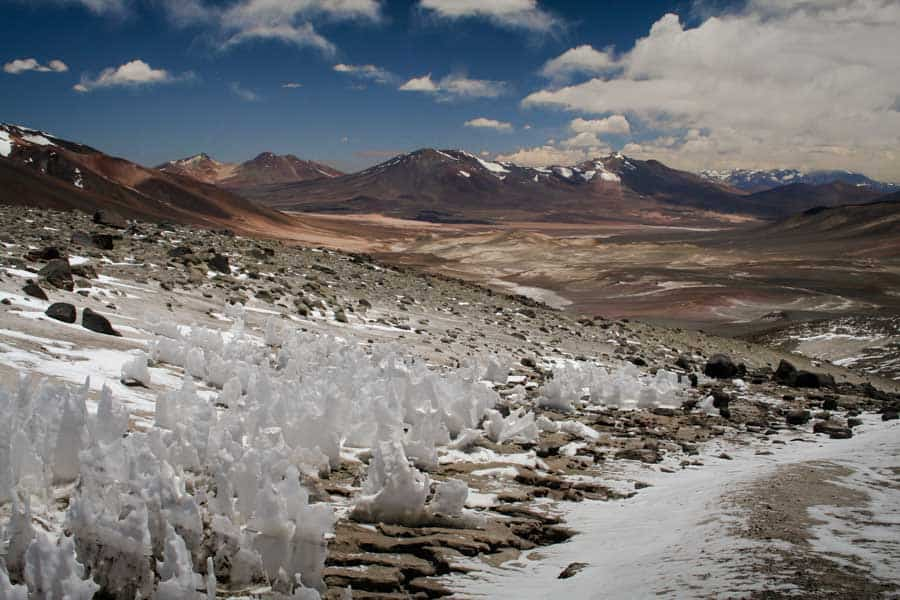 Natural ice wonders in the mountains of Chile