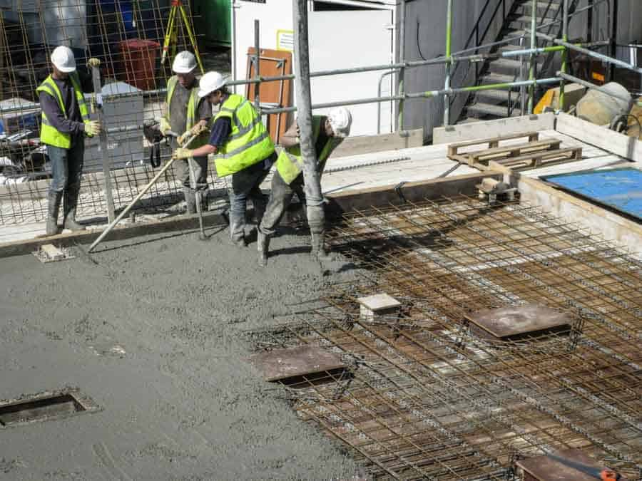 Concrete pour for a first floor slab