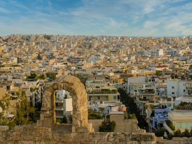 The old and new buildings of Athens Greece