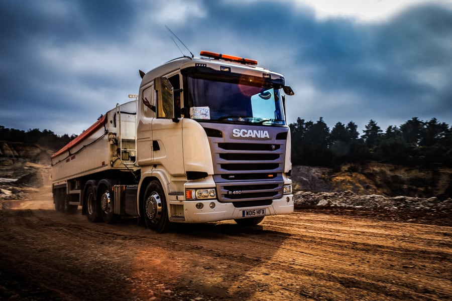 Picture of a truck leaving a quarry in Dorset by Rick McEvoy Photography