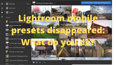 Lightroom mobile presets disappeared: What do you do?