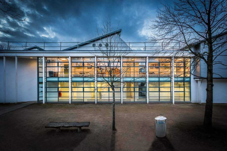 A picture of the new entrance to the library photographed for the architect